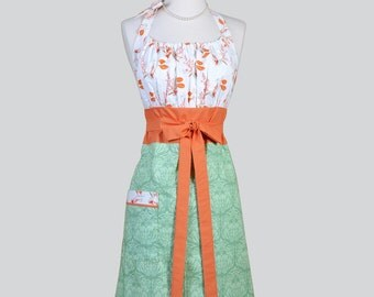 Cute Kitsch Retro Aprons / Full Vintage Kitchen Womans Apron in Soft Lime Green Skirt with Pumpkin Leaves Handmade Chef Womens Aprons