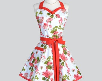 Sweetheart Retro Womans Apron - Full Flirty Vintage Style Red Geraniums with Soft Blue Background Cute Kitchen Cooking Hostess Womens Aprons