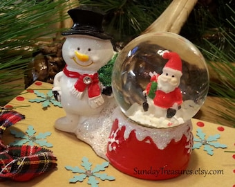 Snowman Santa Snowglobe Gift Box / Gift Card Box / Jewelry Box / Cookie Box / Christmas Party Favor / Winter Wonderland / OOAK Ready To Ship
