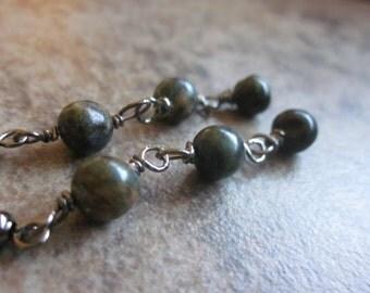 Serpentine Gemstone Earrings, Long Wire Wrapped Dangles, Winter Green, Natural Stone, OOAK, For Her, Canadian Seller, Versatile, Philosophia