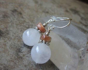 Rose Quartz Earrings with Sunstone, 925 Sterling Sliver, Pastel Pink & Orange, Bridesmaid Gifts, Philosophia, Heart Chakra, Spiritual Gifts