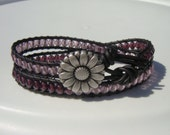 Purple and Lavender Beaded Leather Wrap Bracelet with Daisy Button