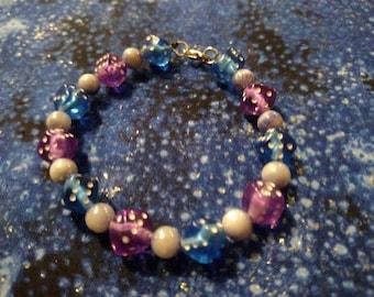 Purple and Blue Dice Bracelet