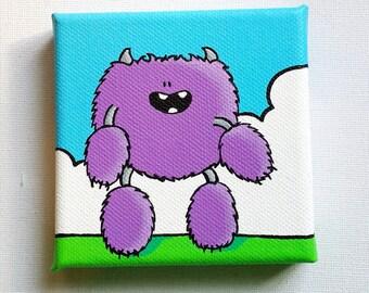 Little Purple Fuzzball Monster - Original Acrylic Painting on Canvas