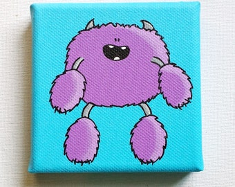 Little Fuzzball Monster - Original Acrylic Painting on Canvas