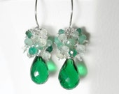 Green Drop Earrings, Green Gemstone Earring, Green Cluster Earrings