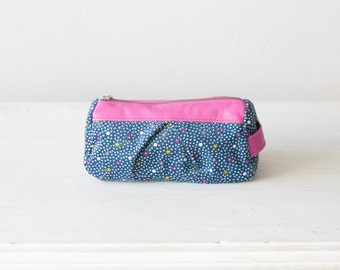 Makeup bag blue with patterns and pink leather, zipper pouch accessory bag cosmetic case travel case - Estia bag