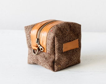 Accessory bag brown wool and leather, makeup case cosmetic bag vanity storage travel zipper case diape- Cube