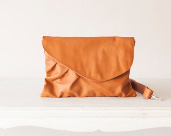 Brown leather clutch,oversized clutch,envelope clutch,crossbody bag,purse,crossover purse,messenger,large clutch - Erato clutch