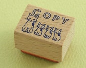 "Japanese Cat Wooden Rubber Stamp - 4 Cats Standing ""COPY"" - Pottering Cat"