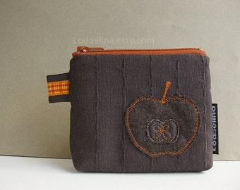 COIN purse fall harvest apple applique chocolate brown pumpkin orange zipper pouch
