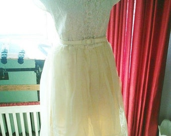 Early 50s Lemon Merengue  Lace, Tulle and Taffeta Party Dress - M/L