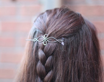 Celtic knot infinity hair pin or shawl pin in copper with a beaded stick - Hair pin - Hair barrette - Hair slide - Shawl pin - HP027