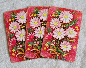 1930s swap trade playing cards, 3 pink flowers cards art supply cards