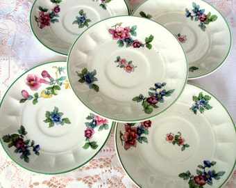 Vintage Pope Gosser China Demitasse Saucers,1920s,Florals,Patented,Made in USA,Lot of 5,Dining Serving,Gold Trim,Garden Party,Bridal Mix