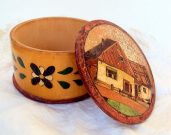 Vintage Russian Folk Art Round Wooden Box, Hand Carved, Jewelry/Trinket,Russian Home Decor,Hand painted, Russian Farm Scene, 1960s 70s,Home