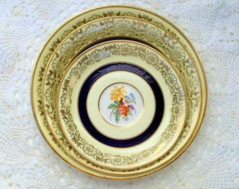 Vintage Johnson Bros. England,Pareek Porcelain Dishes,1930s,Gold Blue Floral,Marked,Kitchen Dining,Place Setting, Serving,Saucers