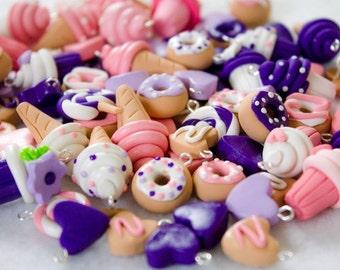Pink & Purple Food Charms, Set of 20