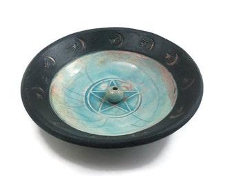 Pentagram Incense Burner Raku Pottery