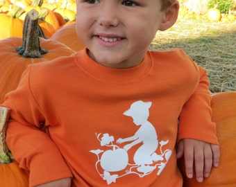 Pumpkin Patch Long Sleeved Crew Shirt by Nostalgic Graphic Tees - Orange with White