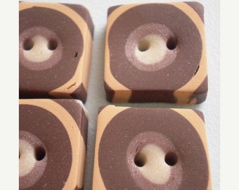 50% OFF - SEVENTIES SQUARES - 5 Polymer Clay Buttons