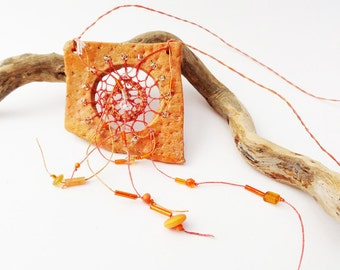 Lace Woven Necklace, As Seen in Belle Armoire Jewelry Mag, Pottery & Fiber Necklace, Tenerife, Orange, Spider Web, Dreamcatcher