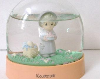 November Precious Moments Snow Globe..Water Globe..November Birthday Gift Idea..Collectible