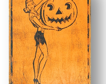 Halloween Lady with Pumpkin Vintage Style Wooden Sign