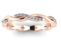 14K Rose Gold Twisted Wedding Band Eternity Style
