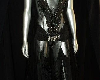 Antique 1920's Art Deco Net Tulle Beaded Rhinestones Evening Dress Gown Jazz Age Period Historical Wearable