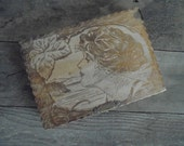 Antique Wood Pyrography Box - Gibson girl