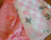 Vintage Pink  Knit Polyester Fabric Floweres