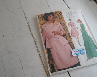 Vintage Sewing Pattern Vogue 1184 Dress Jacket Size 14 Americana Teal Traina