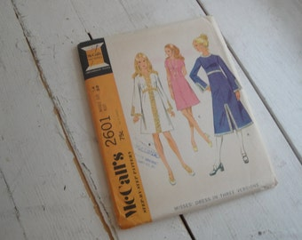 Vintage Sewing Pattern Mccalls 2601 High Waisted Dress Size 14