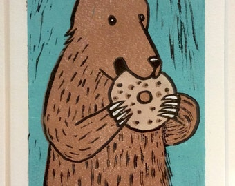 Bear Eating Bagel - Linocut Multiple Block Print