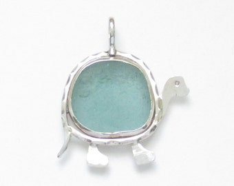 Sea Glass Jewelry - Sterling Aqua Sea Glass Turtle Pendant