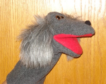 Grey dog   hand puppet
