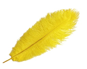 """Ostrich Feathers, 10 Pieces - 17-19"""" YELLOW Ostrich Dyed Drabs Feathers : 3470"""