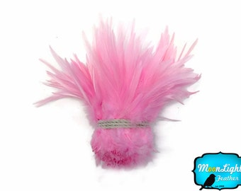 Rooster Feathers, 1 Yard - LIGHT PINK Strung Chinese Rooster Saddle Wholesale Feathers (bulk) : 3976