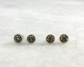 Small Circle Pyrite Studs   Silver Plated   Antique Gold Plated   E31605-S,G