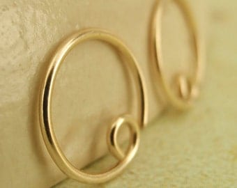 14kt Solid Gold 20mm Hoops - 1 Pair - 20 Gauge - Switch Style