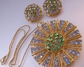 1950s Blue & Green Rhinestone Pendant Necklace and Earrings Set Vintage Jewelry Jewellery
