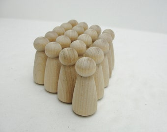 Wooden peg people lady unfinished DIY set of 20