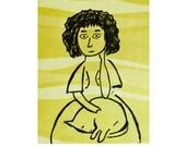 chartreuse yellow green girl cat dog pet portrait ink illustration pet art tagt team