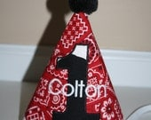 first birthday hat for boys, cowboy theme red bandana with cow print and black accents,  boys 1st birthday hat, cake smash outfit