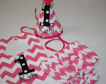 baby girls first birthday outfit, girls 1st birthday outfit, cake smash, pink and black, 1st birthday hat, bib, diaper cover, girls hat