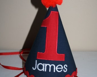 boys first birthday hat, boys 1st birthday hat, navy blue, red and white cake smash outfit, boys hat, personalized birthday hat