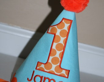 1st birthday hat for boys, aqua blue, orange dots, birthday hat, smash cake outfit, first birthday hat, personalized birthday hat