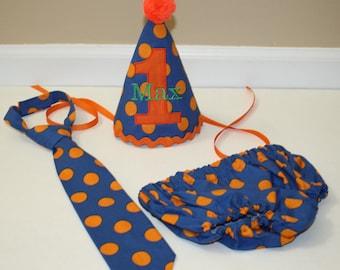 1st birthday outfit for boys, boy first birthday party set, cake smash outfit, royal blue orange dot, 1st birthday,  boys diaper c