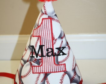 boys first birthday hat, baseball themed smash cake outfit, 1st birthday party hat, red and black, birthday hat,  personalized birthday hat